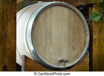 Wooden oak barrel wine,  with metal crane. .
