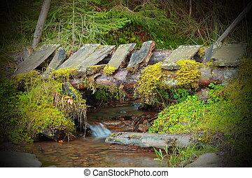 wooden old bridge on mountain stream