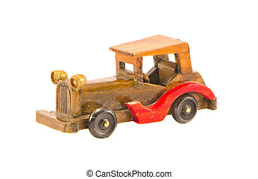 wooden old car model isolated