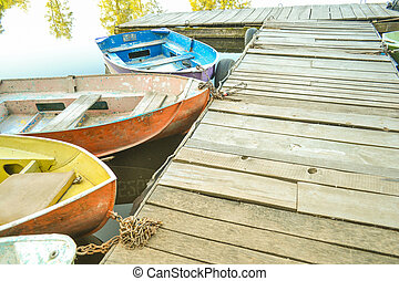 Wooden old dock And the noses of boats