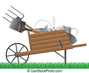 wooden old retro garden wheelbarrow with tool vector...