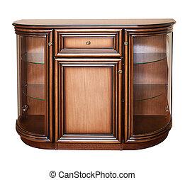 Wooden old stile bureau. Isolated on white