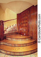 Wooden old style staircase - Photo of wooden old style...