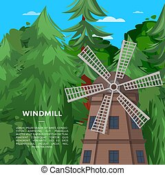 Wooden old windmill on deep forest background