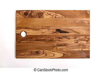 wooden olive cutting board on white background for kitchen works