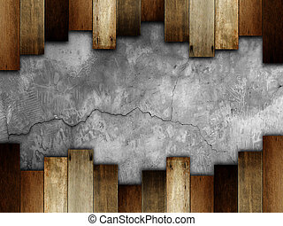 wooden on stone wall for background