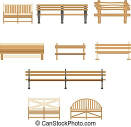 Wooden One Park Bench Isolated on White Background. Vector