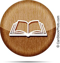 wooden Open book vector icon on a white background