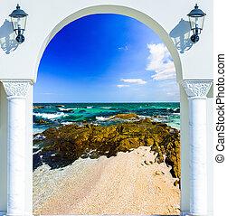 wooden open door arch exit to the beach caribbean
