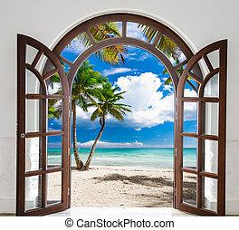 wooden open door arch exit to the beach