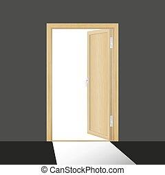 Wooden open door in a dark room