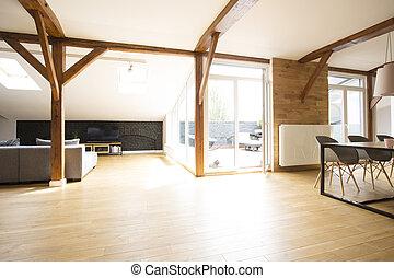Wooden open space wirh view - Wooden floor and windows in...