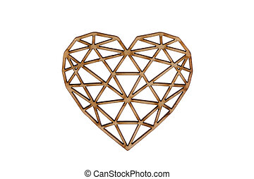 Wooden openwork heart isolated on white background with clipping path