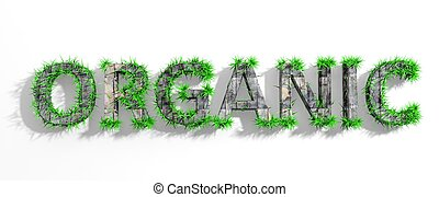 Wooden Organic word with green grass growth isolated