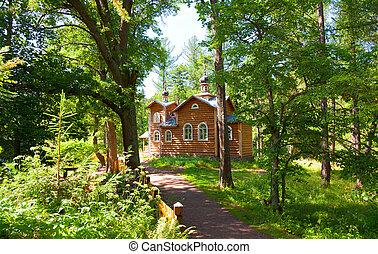 Wooden orthodox church among trees, Valaam