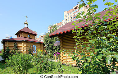 Wooden Orthodox church in Moscow, Russia