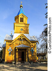 Wooden orthodox church in ukrainian village