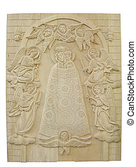 wooden orthodox religion bas-relief isolated over white background