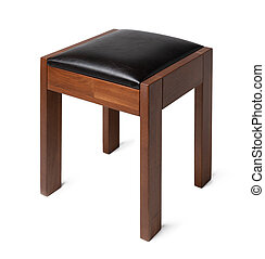 Wooden ottoman seat on white background close up
