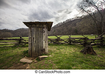 Wooden Outhouse - Wooden outhouse on display in the Great...