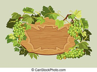 Wooden oval frame with green grapes and leaves isolated on beige background. Element for restaurant, bar, cafe menu or label.