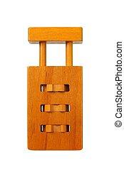Wooden padlock puzzle