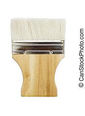 Wooden paint brush isolated on white background