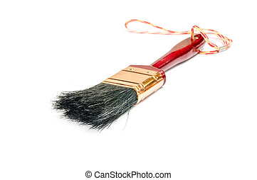 wooden paintbrush isolated