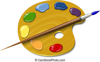 Wooden palette with a brush