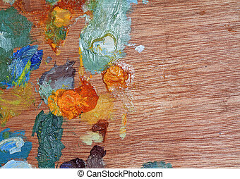 wooden palette with oil paint