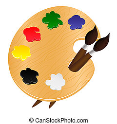 Wooden palette with paints and brushes - vector illustration...