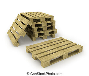 Wooden pallet and stack of pallets isolated on white...