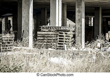 wooden pallet, building construction, concrete beams