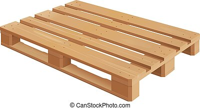 Wooden Pallet - Wooden pallet in perspective, front and side...