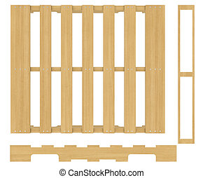Wooden pallet. Isolated on white background. realistic wood