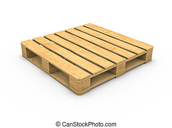 Wooden pallet isolated on white background -...