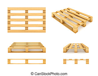 Wooden pallet, isolated on white background 3d rendered illustration.