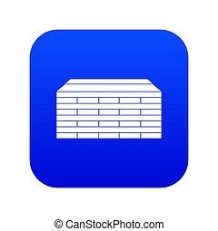 Wooden pallets icon digital blue