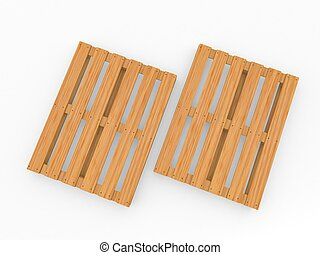 Wooden pallets on white background.