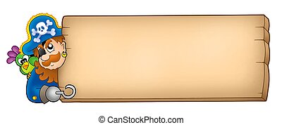 Wooden panel with pirate - color illustration.