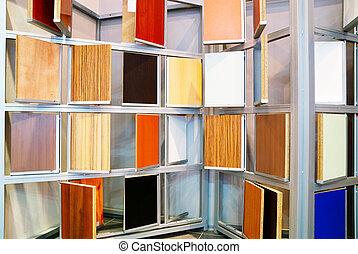 wooden panels samples in store - wood material samples in...