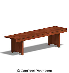 park bench - wooden park bench. 3D render with clipping path...