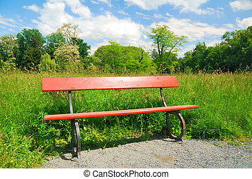 Wooden park bench in springtime greenery