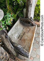 Wooden park bench in the garden