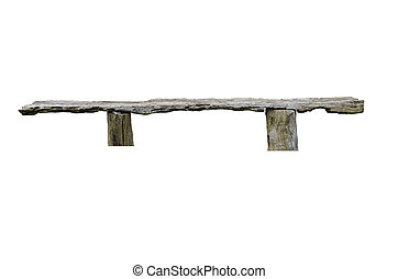 bench on white background with clipping path