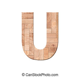 Wooden parquet alphabet letter symbol - U. Isolated on white background