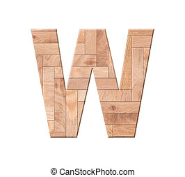 Wooden parquet alphabet letter symbol - W. Isolated on white background