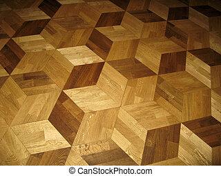 wooden parquet background, parquetry in hexagonal pattern