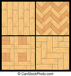 Wooden Parquet, Hardwood Flooring Vector Pattern