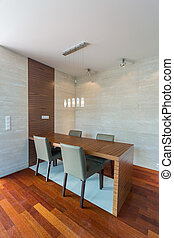 Wooden parquet in dining room